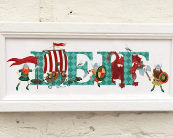 Viking Door Plaque - Children's / Kids / name sign / Illustration