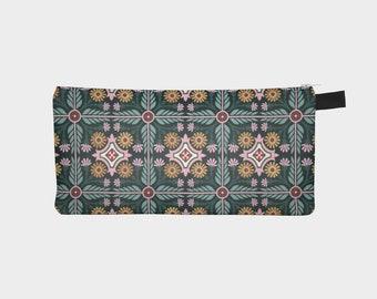 Matter of Fox Pencil Case, Floral Tile, Fabric Zipper Case, Please Read Description, No Coupons