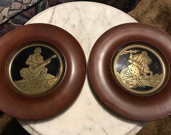 Vintage Gaucho Art wall hangings, wood and metal plaques, round