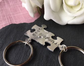 Best Friends Keyring, Puzzle keychain Hand stamped key chain, Friends key chain, stocking gift