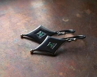 ON SALE Colombian Emeralds & 14k Gold, Sterling Silver Earrings - Madame Pierrot