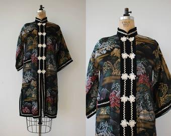vintage 1970s robe / 70s kimono robe / 70s novelty print robe / off beat bride robe / cheongsam robe / tree novelty print / medium large