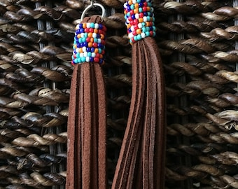 Beaded Leather Earrings, Leather Fringe Earrings,