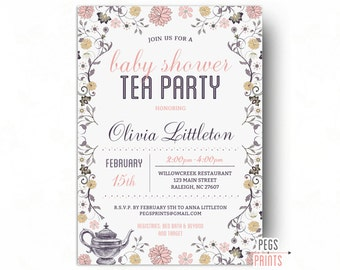 Tea Party Baby Shower Invitation for Girl - Baby Shower Tea Party Invitation - Baby Shower Tea Invitations - Printable Baby Shower Invites