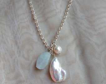 Long Sterling Silver Chain with  Large Baroque White Pearl Aqua Marine Stone and Smaller Freshwater Pearl Necklace