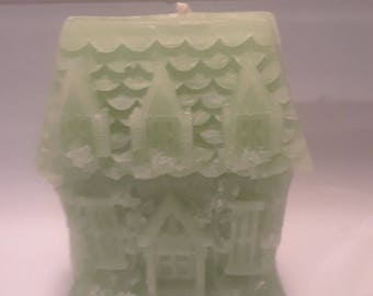 small detailed house pillar candle