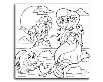 Mermaid Coloring Canvas Kids