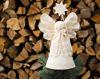 Christmas Angel Tree Topper, White Christmas Ornaments, Holiday Centerpiece, Home Decor, Christmas Gift