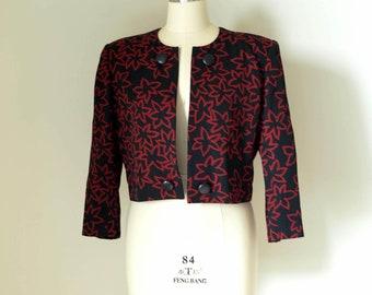 GIVENCHY LIFE / vintage women red & black floral pattern blazer