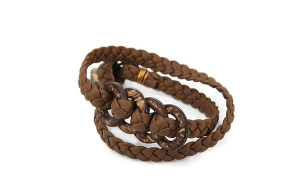 Plaited wrap bracelet for woman from brown recycled faux leather strips in Western country style