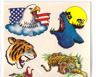 Vintage 1970s Unused Temporary Tattoos Howling Wolf Tiger Eagle Dragon KB3