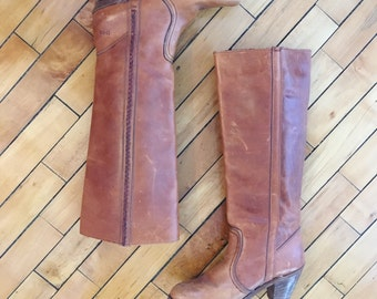 Vintage 70s whiskey brown leather cowgirl knee boots with braided detail by Dexter size 7 M