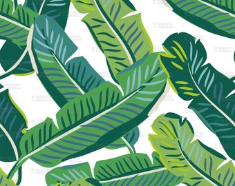 Banana palm leaves Fabric by OJardin