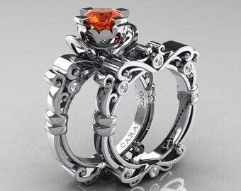 Caravaggio Renaissance 950 Platinum 1.0 Ct Orange Sapphire Diamond Engagement Ring Wedding Band Bridal Set R615S-PLATDOS