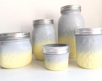 Grey & Yellow Ombré Mason Ball Jars
