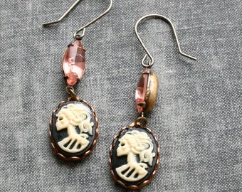 Skull Cameo Earrings - With Faux Connector, Skeleton Cameo Earrings