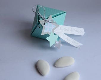 Box dragees christening, wedding, communion - Mint green and grey stars