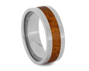 Wooden Wedding Band Inlaid With Koa Wood, Titanium Ring, Simple Wedding Band For Men or Women