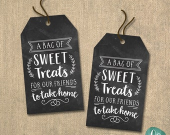 Sweet Treats Sign Favor Tags Printable / Chalkboard Wedding Favor Tags / Wedding Shower Favor Tags / Baby shower Favor Tags