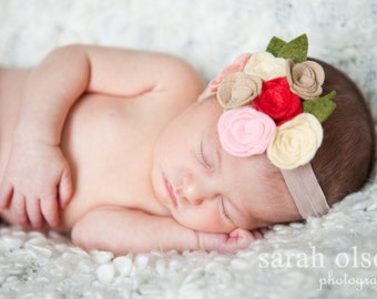 Felt Flower Headband - Baby Love in Pinks Matilda Jane Inspired