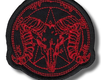 Baphomet skull - embroidered patch, 7x7 cm