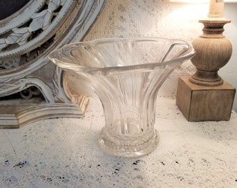 Heisey clear glass fluted vase