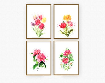 Flower 4 set watercolor wall decor.