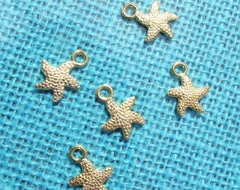 """GOLDTONE STARFISH CHARMS,Ocean Charms,Gold Charms,1/2"""" Charms,Jewelry Findings,Jewelry Making Supplies,Craft Supplies,Ocean Beach Charms"""