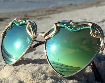 Sage Green Reflective HEART Sunglasses, Turquoise Gold Wire Wrap Sun glasses, Spunglasses, OOak, Unique, Boho, Fairy, Hippie, Sunnies, NEW