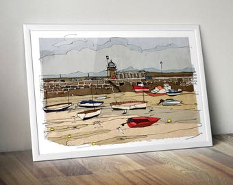 St Ives Harbour, Cornwall art print, 210 x 297 mm