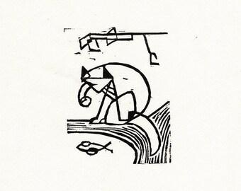"Original Woodcut Cat Art Handmade Limited Edition Print ""02.23-Angler"""