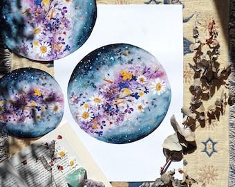 Flower Planet, Moon Art, Luna