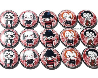 """Nightmare Magnet, Horror Magnet, Fall Magnet, 1"""", Button Magnet, Halloween Theme, Fall Theme, Fall Decor, Slasher, Horror, Nightmare, Scary"""