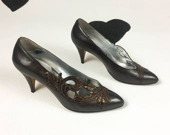 80's art nouveau bronze cutout high heel pumps 1980's Andrea Pfister for Saks Fifth Avenue / made in Italy /  brown leather heels size 7 38