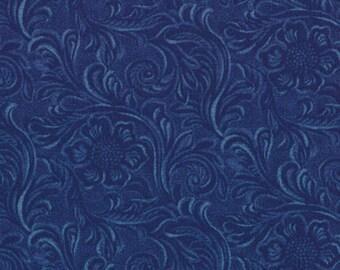 Moda TOOLED LEATHER Quilt Fabric 1/2 Yard By Sara Kammash - Denim Blue 11216 12
