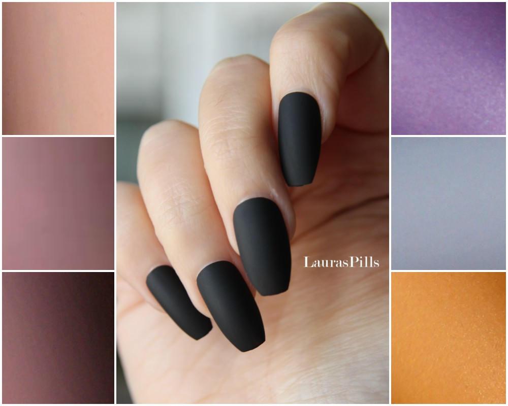 Black coffin shaped false nails Ballerina nails matte