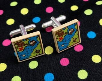 Treasure Map Cufflinks...Handmade using LEGO® parts