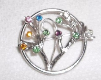 Vintage Signed TURIN Inc. Sterling Silver Rhinestone TREE of LIFE Pin Brooch!