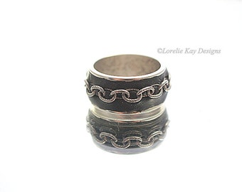Biker Babe  Band Ring Fine Silver Plated Chain Ring