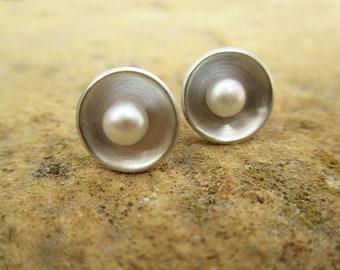 Pearl Earrings, Simple Earrings, Minimalist Earrings, Silver Stud Earrings, Pearl Post, Elegant Earrings, Artisan Earrings, Modern Earrings