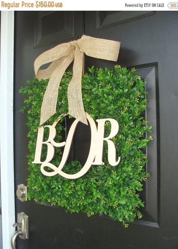SUMMER WREATH SALE Wedding Wreath Decoration, Wedding Decor, Church, Reception Decor , Couples Monogram Boxwood Wreath, Wedding Gift, Door W