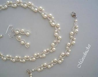 SALE!! Wedding jewelry set, bridal pearl set, bridal jewellery,  swarovski white or cream, bride or bridesmaid, gift