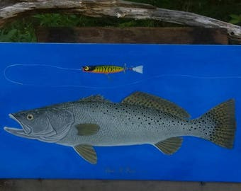 """Original Speckled Seatrout painting, 12""""x24"""" acrylic on panel. READY TO SHIP !"""