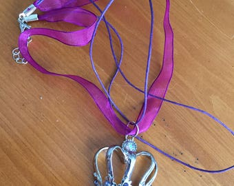 Purple Necklace with Crown Charm 16 inch