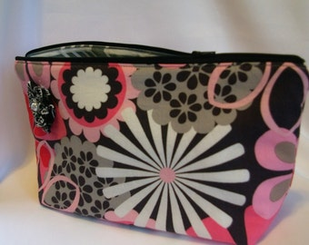 CLEARANCE...Large Flat Bottom Cosmetic Bag in Pink/Black/Gray Floral Print...The Adelaide Collection