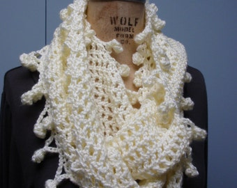 Crochet Infinity Scarf Fancy Bobble Edge Soft White Cream