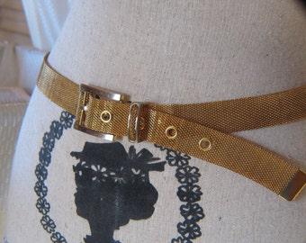 Vintage Gold Tone Mesh Adjustable Belt