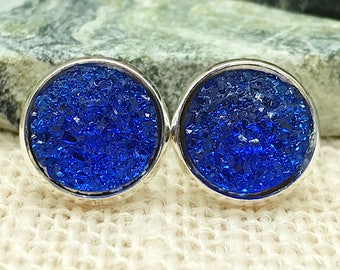 Royal Blue Druzy Earrings - Druzy - Bridesmaid Gift - Stud Earrings - Druzy Jewelry - Earrings - Blue - Jewelry - Drusy - Druzy Earrings -