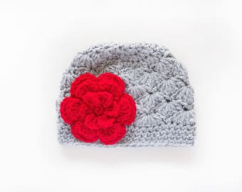 Crochet Girls Hat / Girls Christmas Hat / Newborn Girls Hat / Girls Beanie / Hats For Girls / Baby Girl Hat / Toddler Girl Hat / Girls Hat