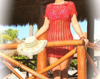 Beautiful handmade crochet beach coverup (beach dress) in red.Handmade in 100% cotton